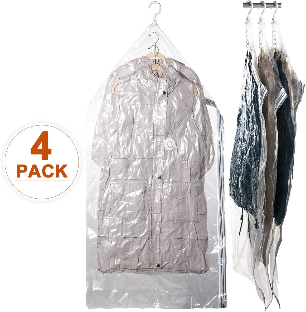 """CLEVHOM Hanging Space Bags Vacuum Storage Bags for Clothes, Dress, Set of 4 (Long 53""""x27.6"""") Large Reusable Garment Protector, Closet Organizer"""