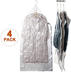 "CLEVHOM Hanging Space Bags Vacuum Storage Bags for Clothes, Dress, Set of 4 (Long 53""x27.6"") Large Reusable Garment Protector, Closet Organizer"