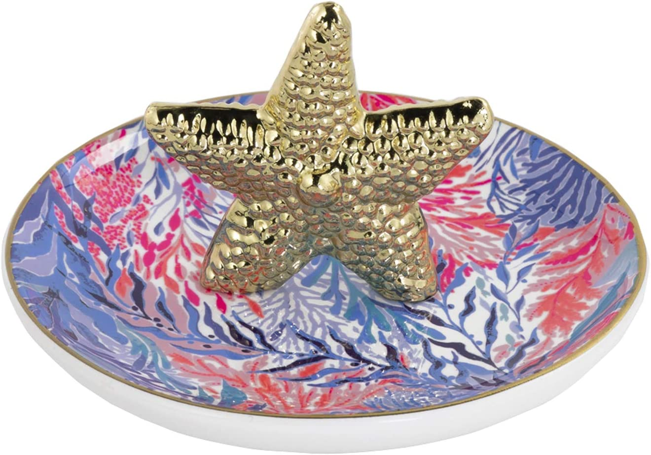 Lilly Pulitzer Women's Pink/Blue Ceramic Ring Holder Dish, Kaleidoscope Coral