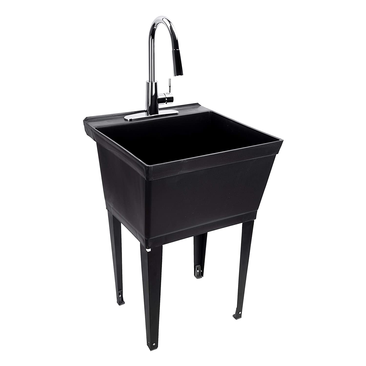 Black Utility Sink Laundry Tub With High Arc Chrome Kitchen Faucet By MAYA - Pull Down Sprayer Spout, Heavy Duty Slop Sinks For Washing Room, Basement, Garage, or Shop, Free Standing Wash Station Tubs