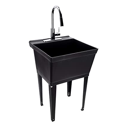 Black Utility Sink Laundry Tub With High Arc Chrome Kitchen Faucet