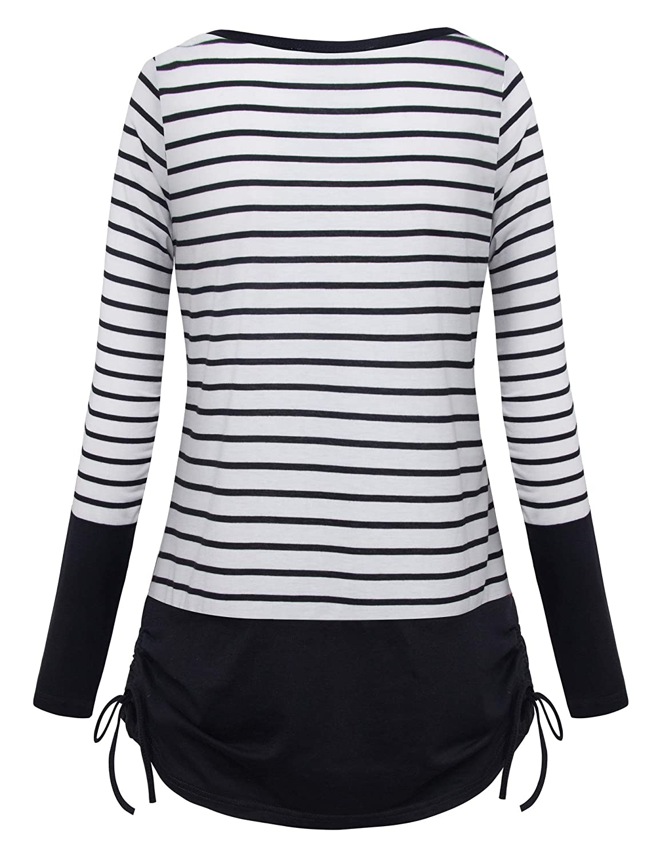 4b33647e819 Vivilli Junior Casual Striped Shirts Round Neck Cotton Blouse Loose ...