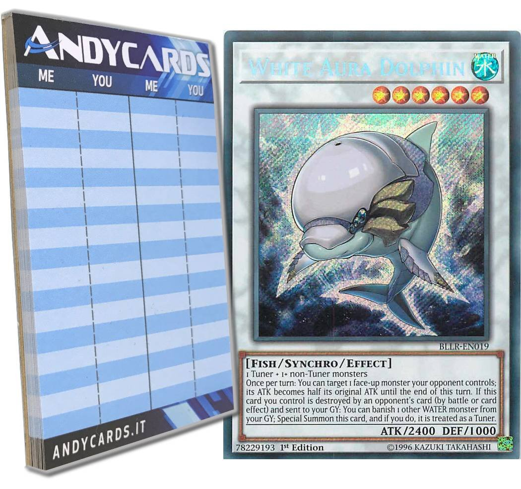 Yu-Gi-Oh! - WHITE AURA DOLPHIN - Secret BLLR-EN019 in ENGLISH + Andycards Scorepad