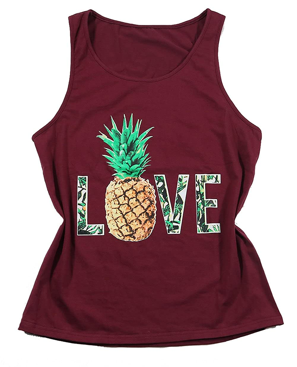 NANYUAYA Women's Love Pineapple Letter Graphic Funny Tops Casual Cami Shirt Blouse