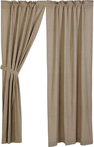Primitive Star Lined Country Stripe Panel Curtains 84″