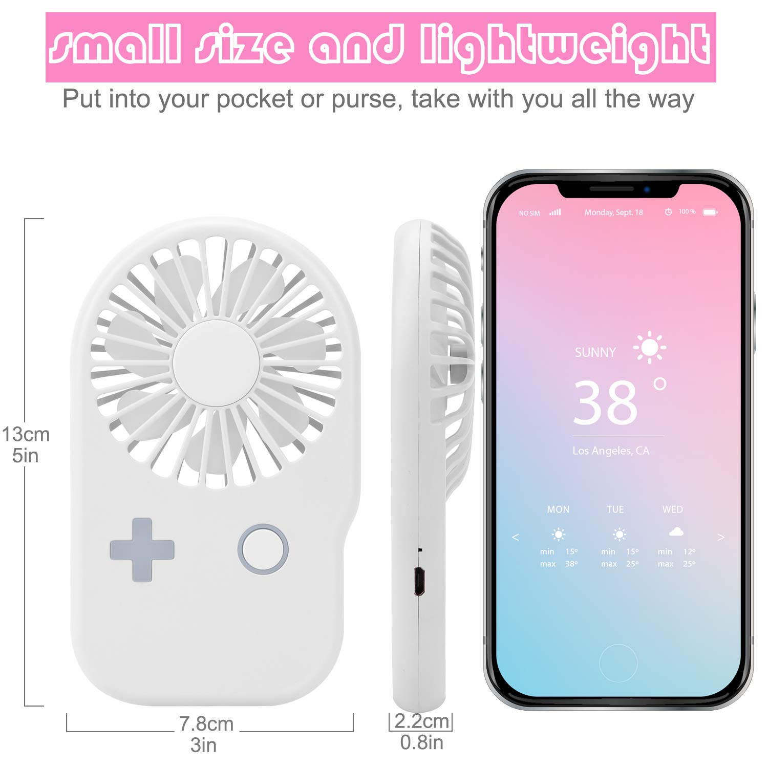 Aluan Mini Handheld Fan Powerful Small Personal Portable Fan Speed Adjustable USB Rechargeable Cooling for Kids Girls Woman Home Office Outdoor Travel