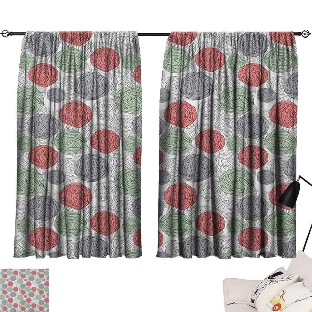 Retro Indoor Darkening Curtains Knitting Balls Crochet Hand Made Theme Domestic Hobby Vintage Theme Set of 2 Panels Coral Grey Reseda Green W63 x L45