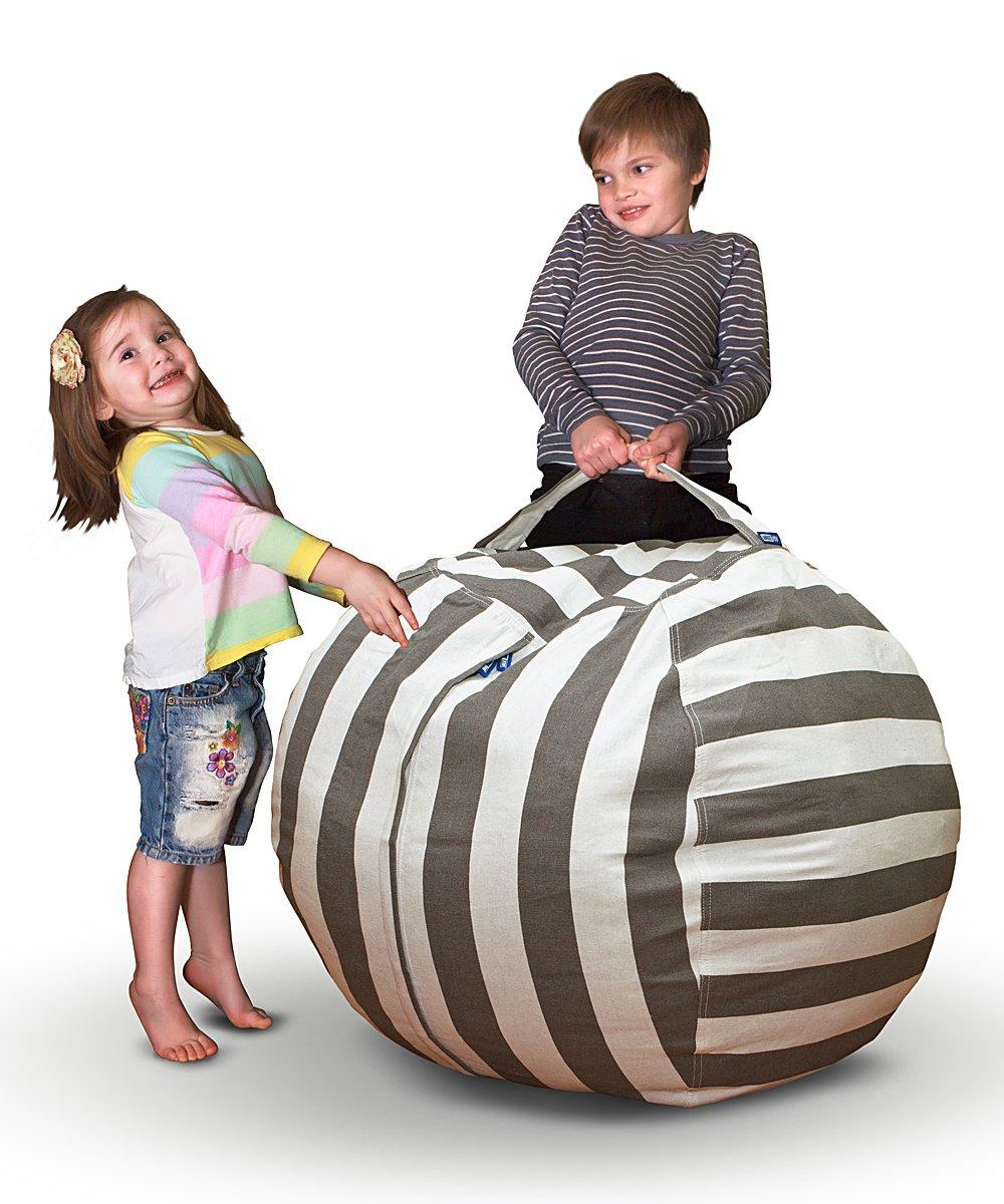 AMAZEYOU Stuffed Animal Storage Bean Bag Chair – Stuff 'n Sit – Premium Cotton Canvas – Comfy Pouf Organizer for Children and Kids (36'', Grey/White Striped)
