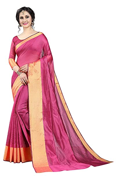 c05e8fcd9b9e8e Gauri Laxmi Enterprise Women s Art Silk and Cotton Blend Sarees with Blouse  (FABULOUS 50