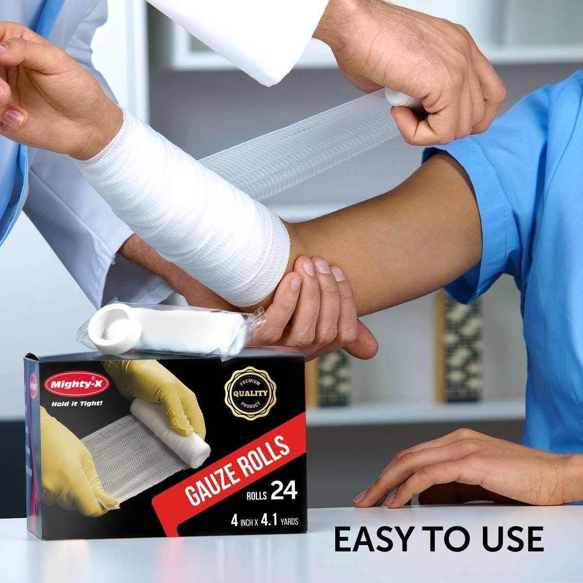 Premium Gauze Bandage Roll - 24 Pack - Gauze Roll (4 inches x 4.1 Yards) - Latex Free Rolled Gauze - Gauze Wrap + Bonus Medical Tape: Health & Personal Care