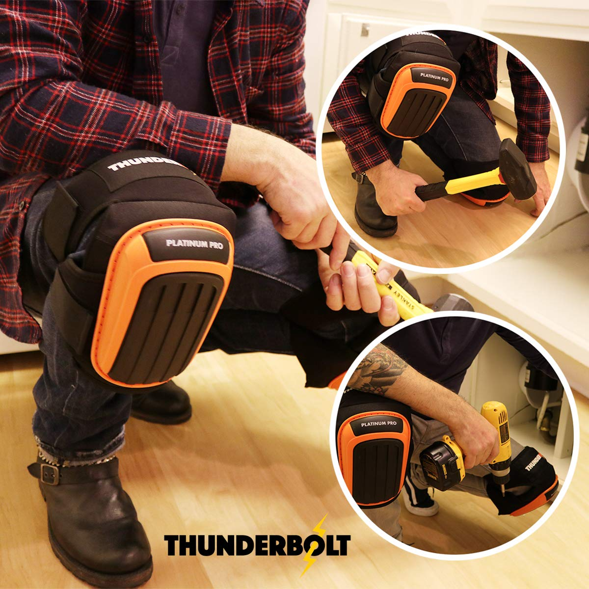 Knee Pads for Work by Thunderbolt with Heavy Duty Foam Cushioning and Gel Cushion Perfect for Construction, Flooring and Gardening with Adjustable Anti-Slip Straps by Thunderbolt (Image #3)