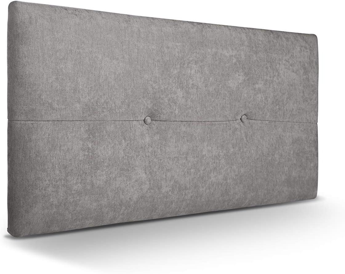 SUENOSZZZ - Cabecero de Madera Jazmin, tapizado Acolchado, en Tela Rio2 Color Gris Cabeceros Madera para Dormitorio | Cama Matrimonio | Cama Juvenil | Camas de 105 cm, 90 cm, 80 cm