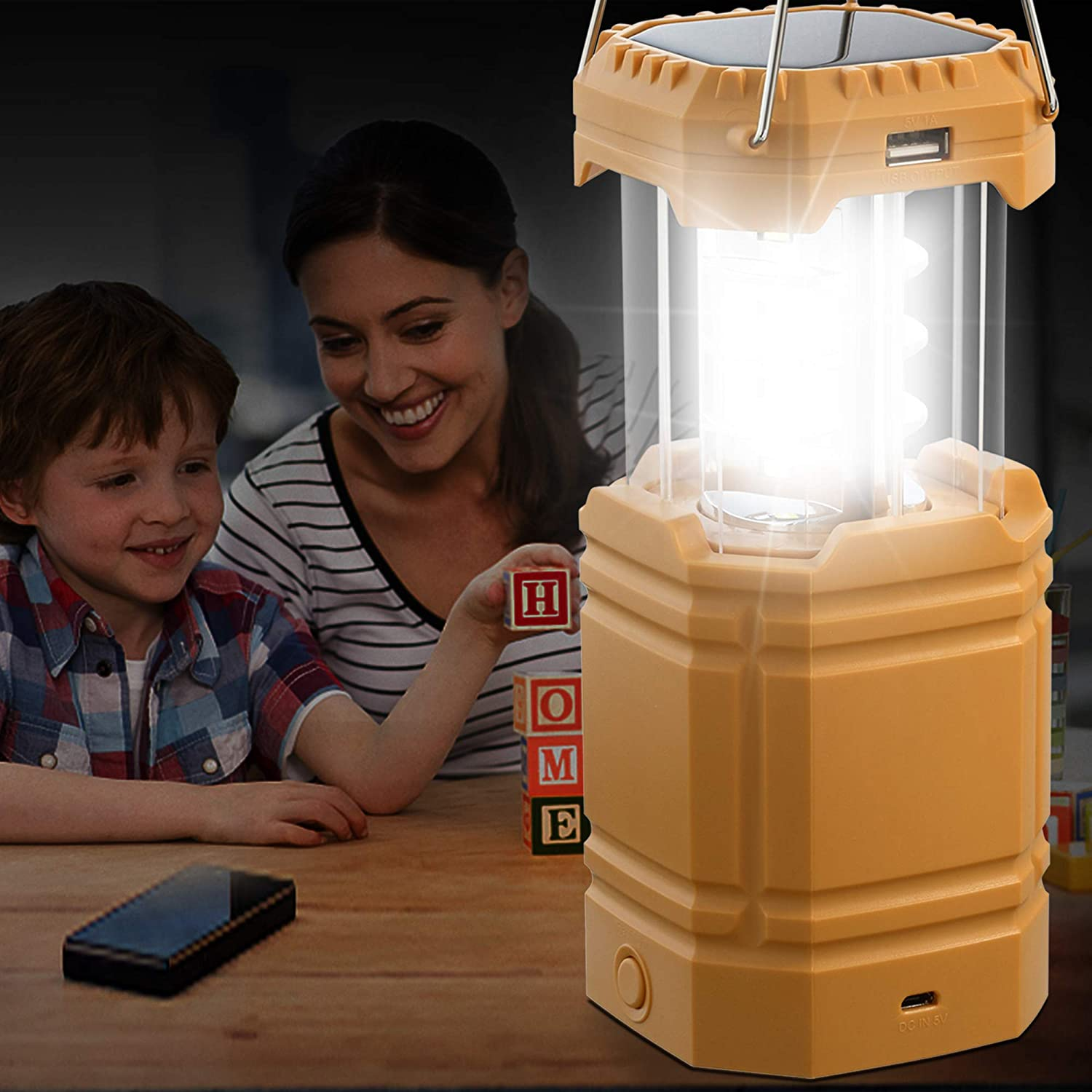 Hand Crank Solar Camping Lanterns Flashlight, Portable Emergency Camping Light, (DC 5V) 3000mAh Rechargeable Power Bank for Phone Charger, Survival Kits for Hurricane Hiking Fishing Home Power Failure