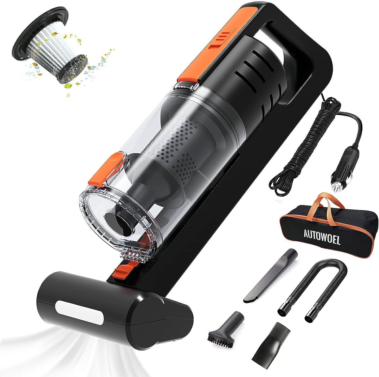 Aspiradora portatil y accesorios limpieza de auto (Negro)