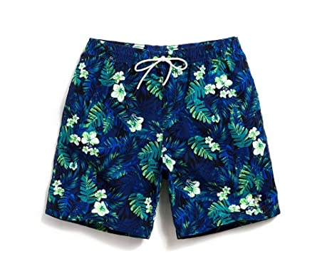 Lantra Besa Blaue Blätter Wasserabweisend Schnelltrocknend Herren Männer Badehose  Badeshorts Knielang Shorts für Wassersport Freizeit im
