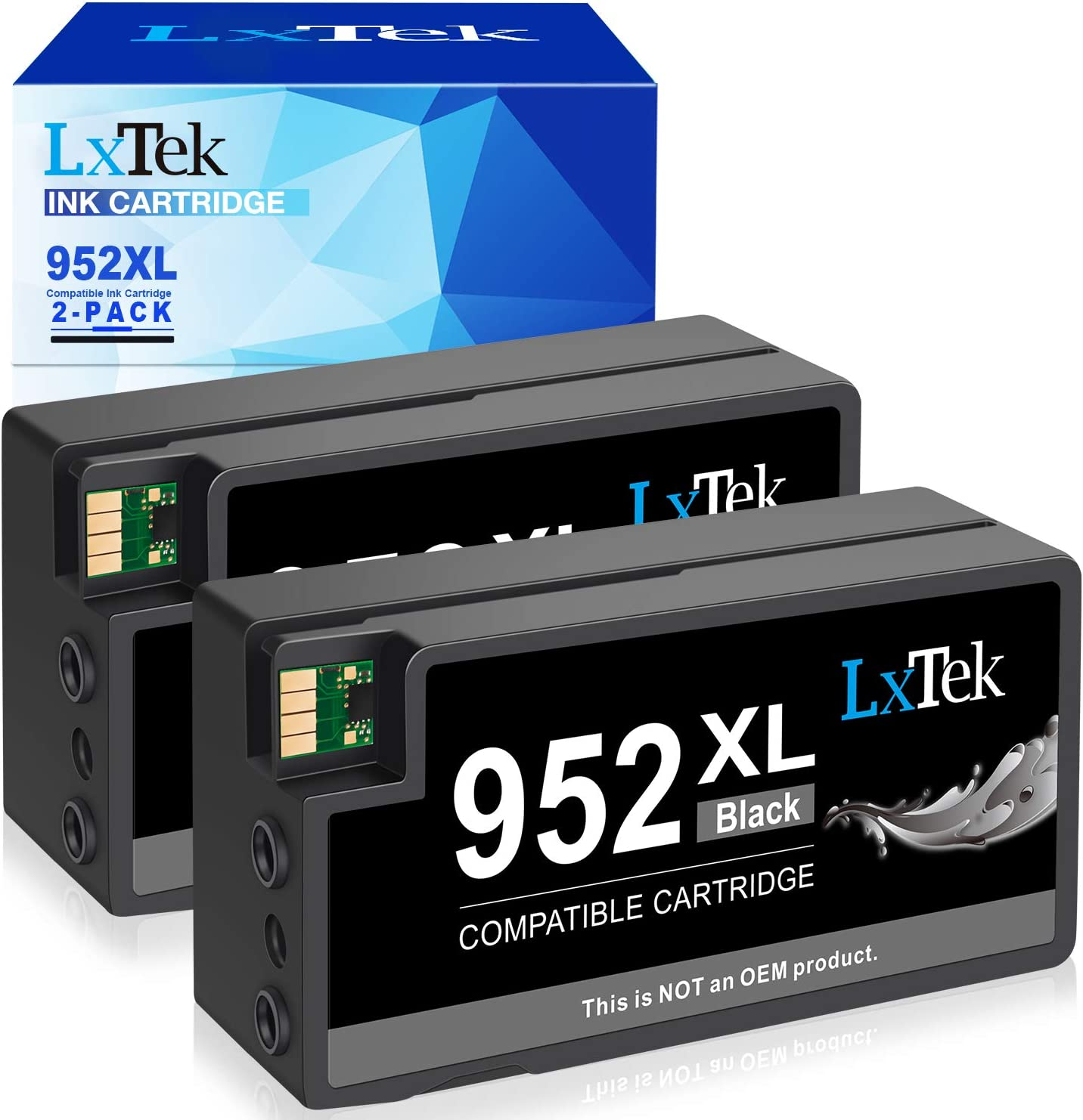 LxTek Compatible Ink Cartridge Replacement for HP 952XL 952 XL Ink cartridges to use with Officejet Pro 8710 8720 7740 8740 7720 8715 8725 8702 8216 8210 Printer (2 Black)