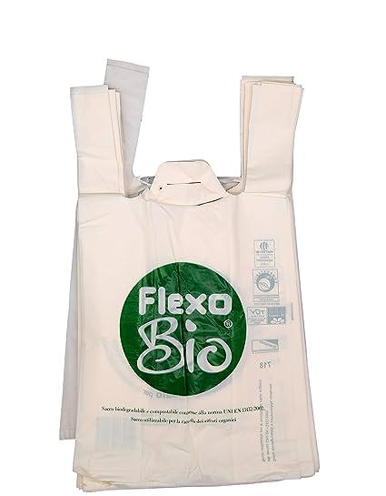 Plaxi - Bolsas biodegradables compostables, 22 + 12 x 40 cm, conforme a la normativa EN 13432, para tiendas de alimentos y uso doméstico, para ...
