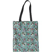 WELLFLYHOM Canvas Shoulder Bag Handle Reusable Grocery Bags Heavy Duty Washable Eco Shopping Bag Big