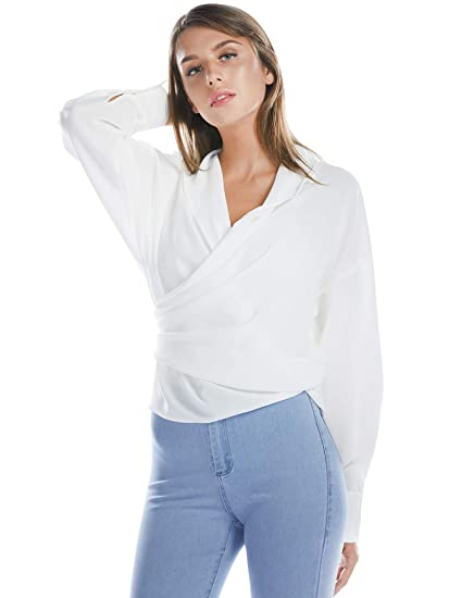 Bargoos Women Winter All White Wrap Blouse V Neck Long Sleeve Shirts