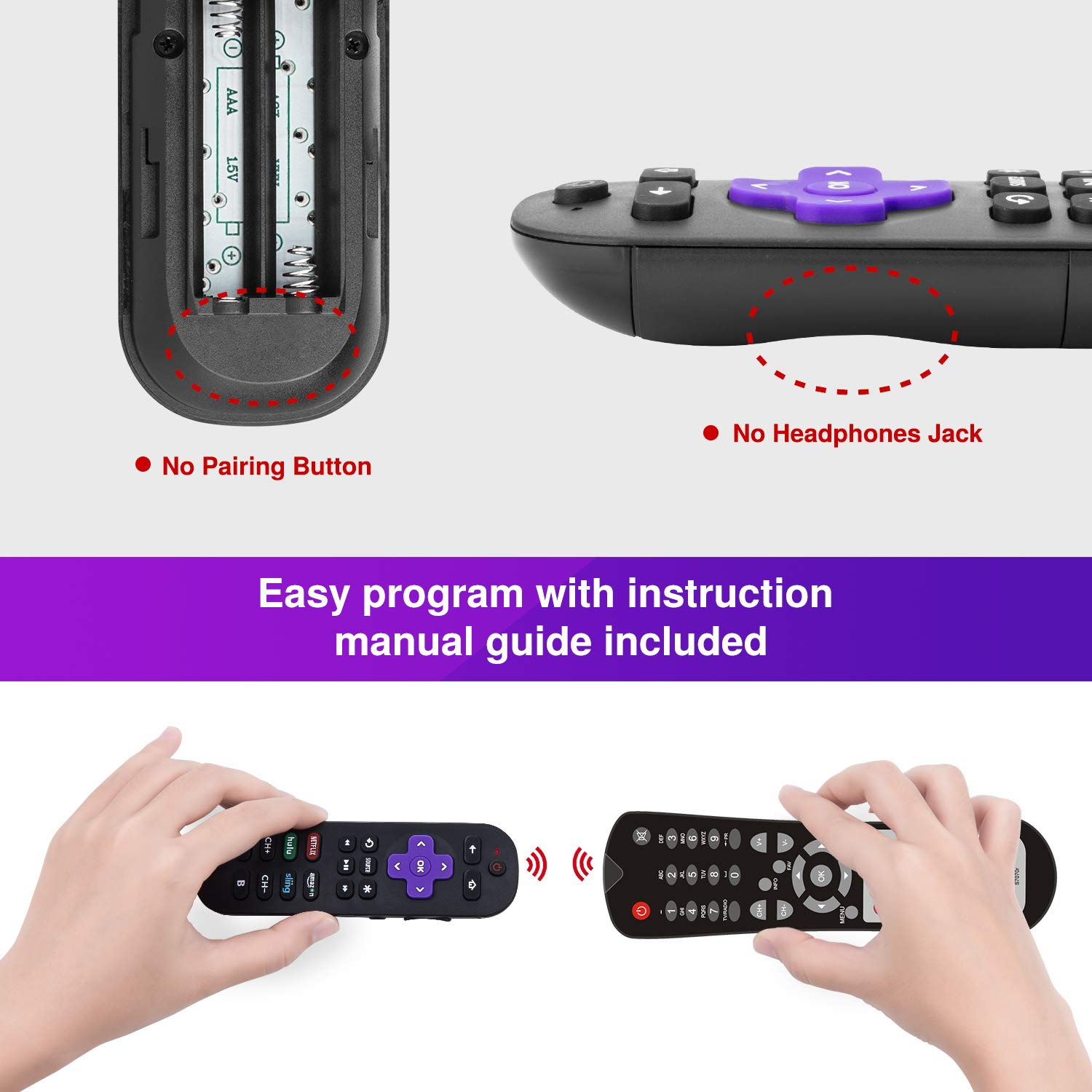 Universal Remote Control For Roku Player With 9 More Learning Keys to Control TV Soundbar Receiver All in One (Fit For Roku 1 2 3 4 Premier+ Express Ultra)【NOT FOR ROKU STICK & BUILT-IN ROKU TV】 by Hztprm (Image #6)
