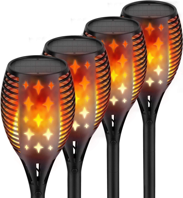 Nekteck Outdoor Torch Light with Star Design (4 Pack), Flickering Dancing Flames, Waterproof Solar Flame Lights Decoration for Yard Pool Patio Garden Pathway Walkway