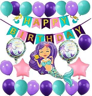 WERNNSAI Meerjungfrau Partyzubeh/ör Meerjungfraud Party Favors f/ür M/ädchen Geburtstag Party Deko Besteckbeutel Tischtuch Servietten Teller Tassen Utensilien Banner /& Ballons 16 G/äste 169 St/ück