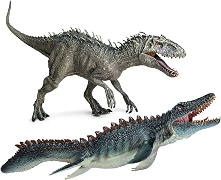 Gemini&Genius 15 inches Stand Up Indominus Rex and Mosasaur with Movable Jaw Dinosaurs Set Jurassic World Toys Action Figures Toy for Kids from 3-12 Years Old ( 2 in 1 )