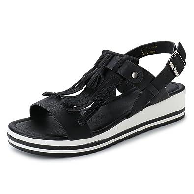 8577a4cf3ce Alexis Leroy Women s Fringe Faux Suede Buckle Strap Open Toe Platform  Sandals Black 36 M EU