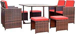 Devoko 9 Pieces Patio Dining Sets Outdoor Space Saving Rattan Chairs with Glass Table Patio Furniture Sets Cushioned Seating and Back Sectional Conversation Set (Red)