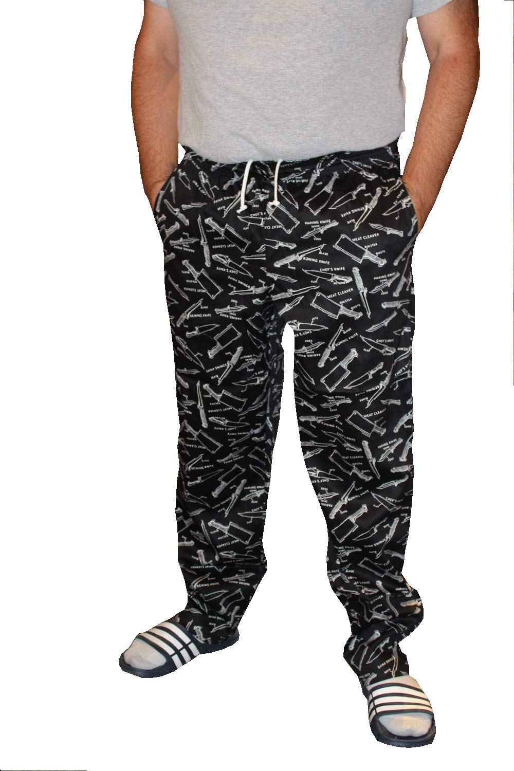Mens Traditional 100% Cotton Baggy Chef Pant (Slicing Dicing, L) by Best manufuctures