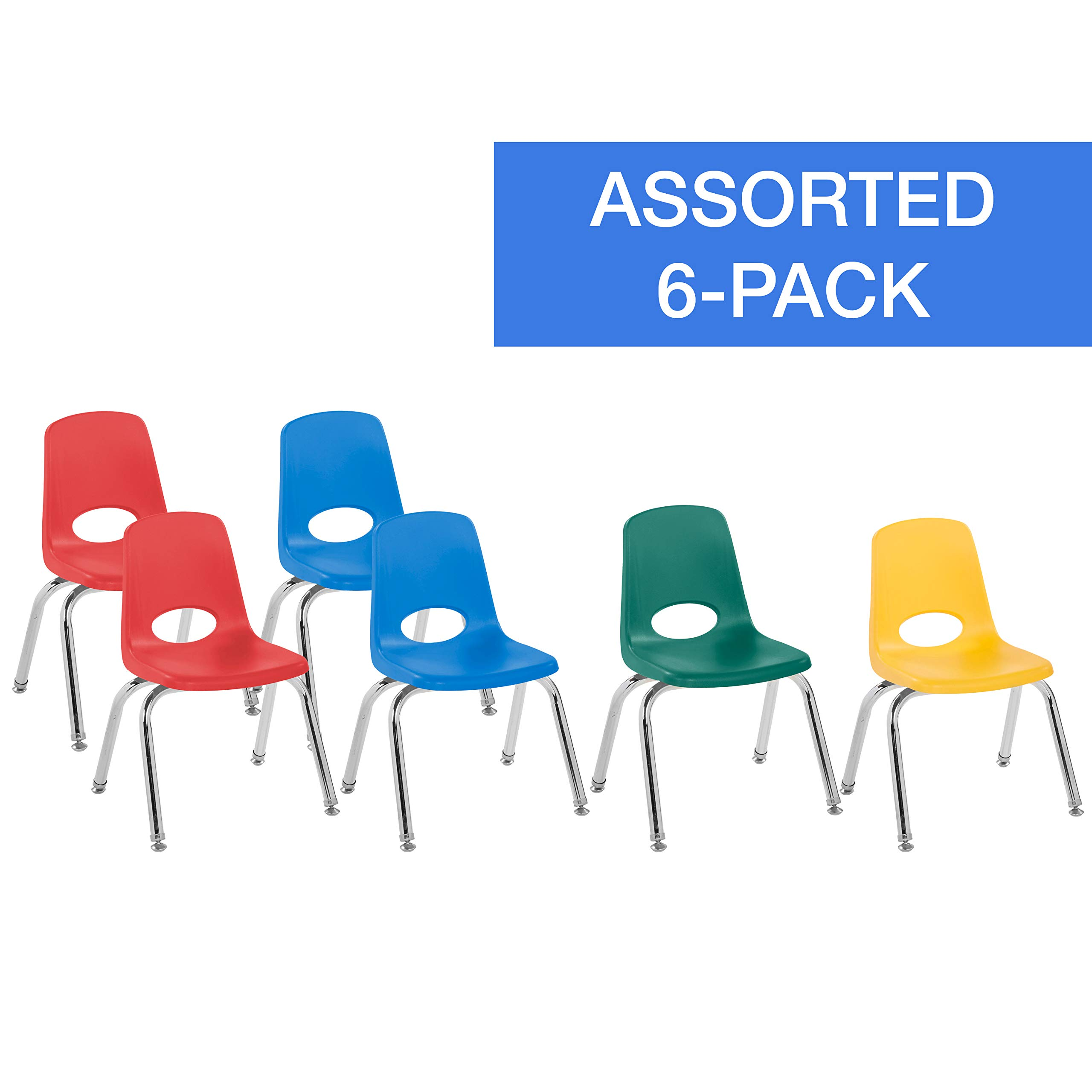 FDP 12'' School Stack Chair, Stacking Student Chairs with Chromed Steel Legs and Nylon Swivel Glides - Assorted Colors (6-Pack) by Factory Direct Partners