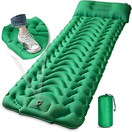 Camping Sleeping Pad, MEETPEAK Extra Thickness 3.9 Inch Inflatable Sleeping Mat with Pillow Built-in Pump, Compact Ultralight Waterproof Camping Air Mattress for Backpacking, Hiking, Tent, Traveling