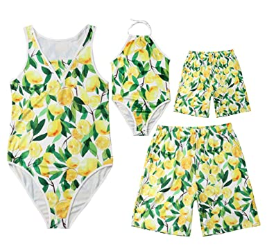 91053d34c Amazon.com: Family Matching Lemon Print Bathing Suit Mommy&Girl One Piece  Sleeveless Swimsuit Daddy&Boy Trunks with Pockets: Clothing