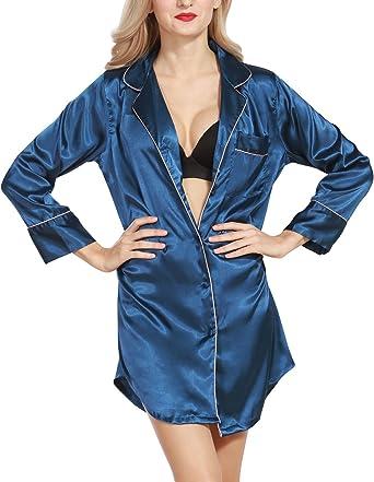 Dolamen Camisón para Mujer, Mujer Camisones Raso Camisa de Dormir, Nightdress Manga Larga, AtractivoCheck Buttoned Collar de la Camisa con el Bolsillo: Amazon.es: Ropa y accesorios