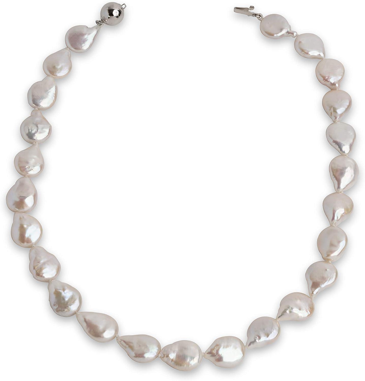 Secret & You Collar de Perlas de Mujer Cultivadas de Agua Dulce Moneda Barrocas de 45 cm de Largo Perlas Moneda Barroca Grandes de 12-13 mm con Nudo Entre Cada Perla.
