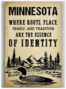 "Unframed Decorative Art Printing Poster Minnesota America Where Roots Place Family Wall Art Paper Poster Printing Unframed Prints for Wall Decor 8"" X 12"""