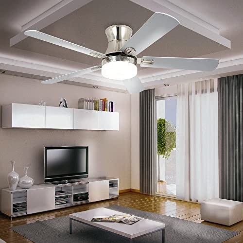 LuxureFan Indoor Flush Mount Ceiling Fan with Led Light with 5 Wood Blade 3 Speed Turn Light Low Profile Decoration for Modern Home Restaurant Remote Control Mute Chandeliers of 52 Inch