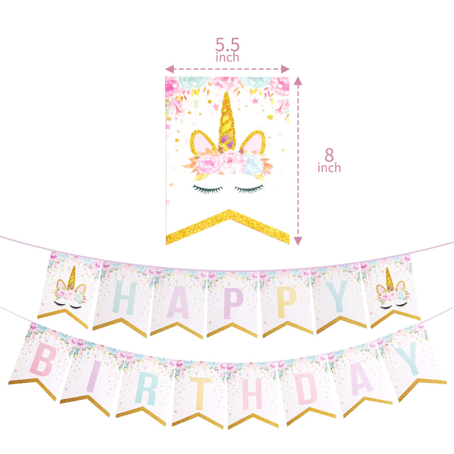 Birthday Party Supplies and Decorations Pink and Gold Unicorn Birthday Happy Birthday Party Favors By: The Life of the Party