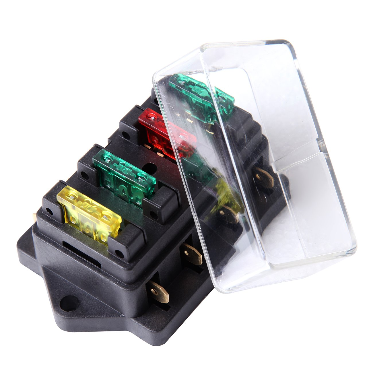 Iglobalbuy 12v 24v Fuse Holder Box Block 4 Way Circuit For Us Cover Car Truck