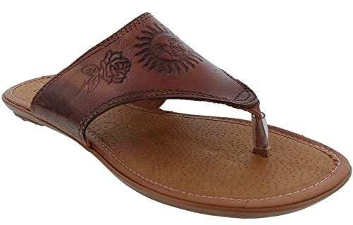 21771a83944f Cowboy Professional Women s 781 Rustic Cognac Leather Tooled Boho Slip On Mexican  Huaraches Open Toe 6