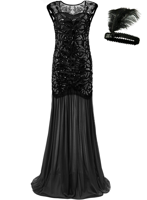 General Women 's 1920s Sequin Maxi Long Evening Prom Party Dress (Black, L)