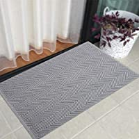 HEBE Cotton Rugs 2'x3' Machine Washable Hand Woven Cotton Area Rug Fully Reversible for Living Room Kitchen Floor Entryway Laundry Room Dorm(2'x3', Chevron Grey)