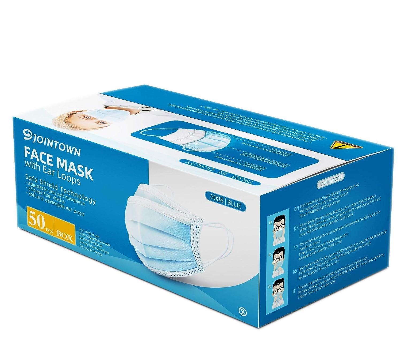 Jointown Máscara Facial de Polipropileno de 3 Capas (Paquete de 50 Piezas)