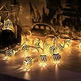 Foxpic 10 LED Boules Doré Métallique Marocain Guirlandes Lumineuse Alimentée par Batterie pour Noël, Fête, Mariage, Soirée d'Anniversaire, Décoration (Blanche Chaude, Taille: S)
