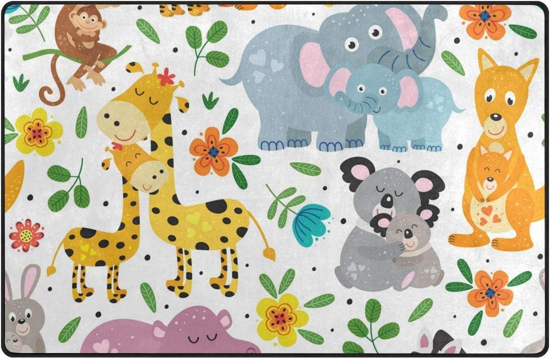 Orediy - Alfombra suave para niños, diseño de animales y mamá y bebé, poliéster, multicolor, 153 x 100 CM