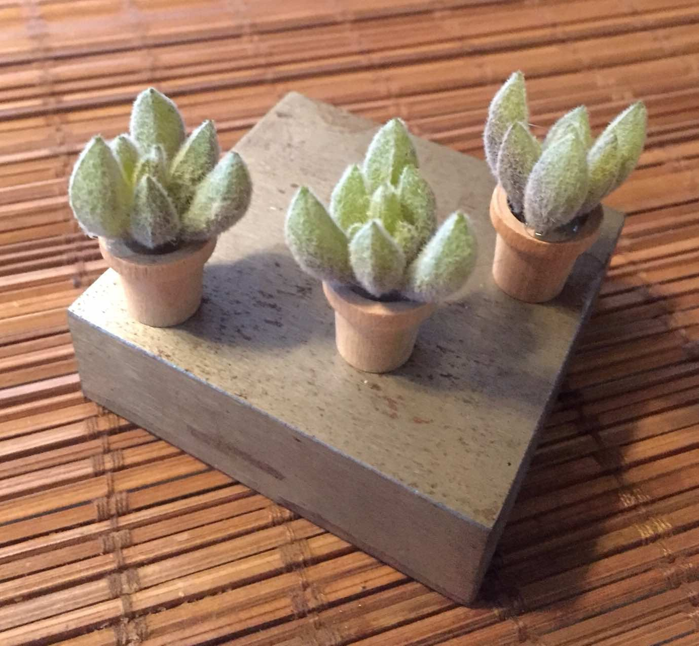 Artificial succulents set of 3 in terra cotta pot, fairy garden supplies, miniature garden accessories