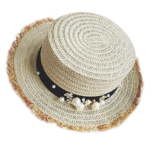 7a1f6528 Benficial Women Wide Brim Straw Hat andmade Pearl Beach Hat Broken Edge Sun  Straw Cap Beige