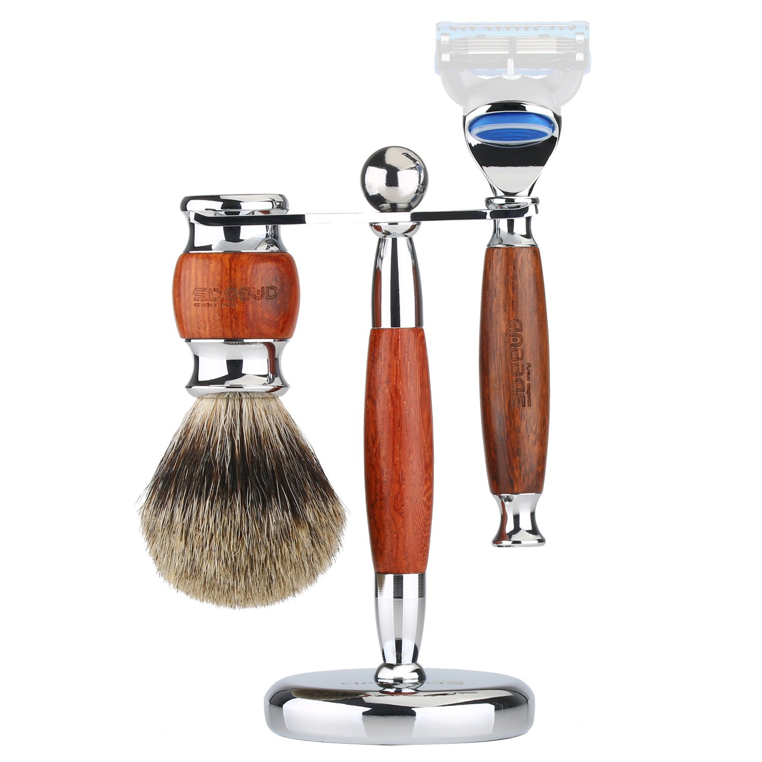 Shaving Brush Super Badger Hair, 3in1 Anbbas Shaving Set with Razor Stand Holder 6.1'',Manual Shaving Razor Handle Kit for Men Wet Shave,Alloy with Solid Rosewood Design,Fashion Gift Choice