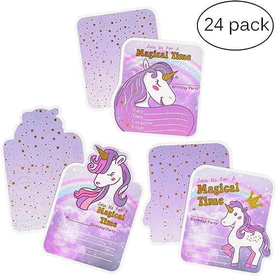 Amazon.com: Unicorn Tarjetas de Invitación de Cumpleaños ...