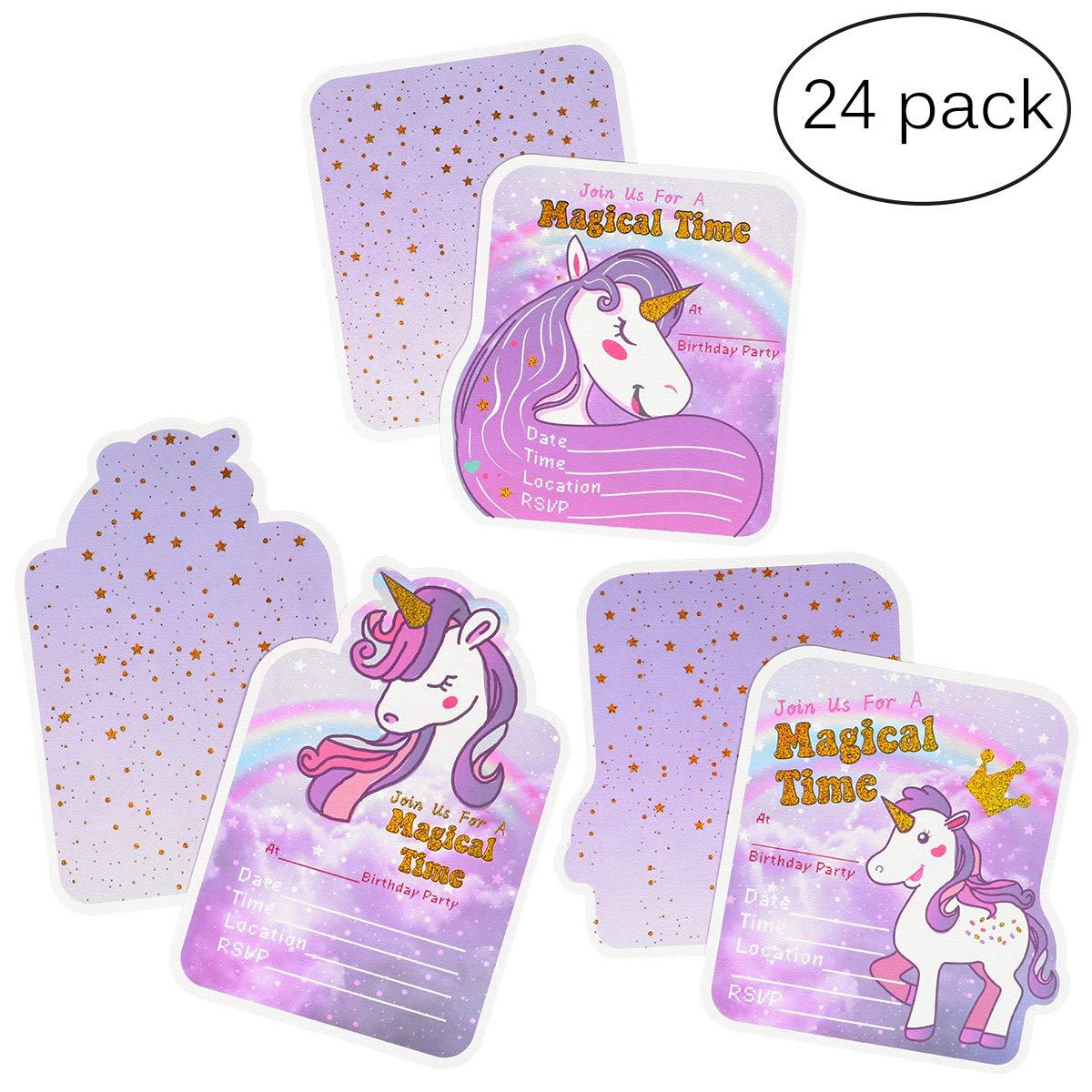 achat Cartes d'invitation d'anniversaire licorne pour filles - 3 styles, 24 cartes avec bronzage doré, 24 enveloppes, 24 autocollants licorne pas cher prix